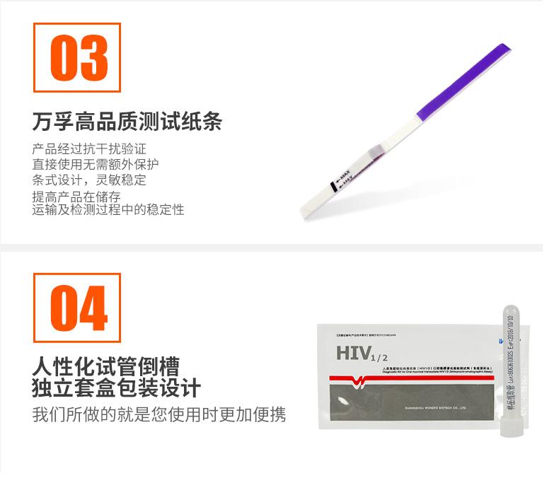 万孚 HIV艾滋病唾液检测纸测试条  口腔黏膜免疫层析法(一盒)