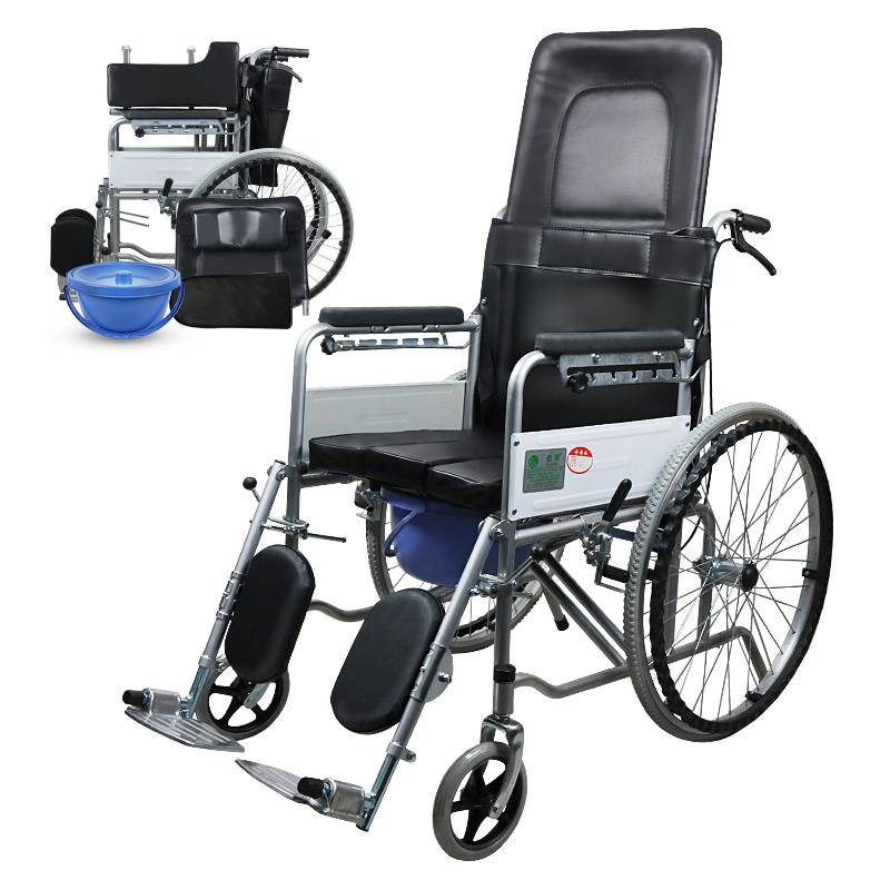 助邦高靠背全躺皮革手动轮椅SIYIV90-ZB-02 PU