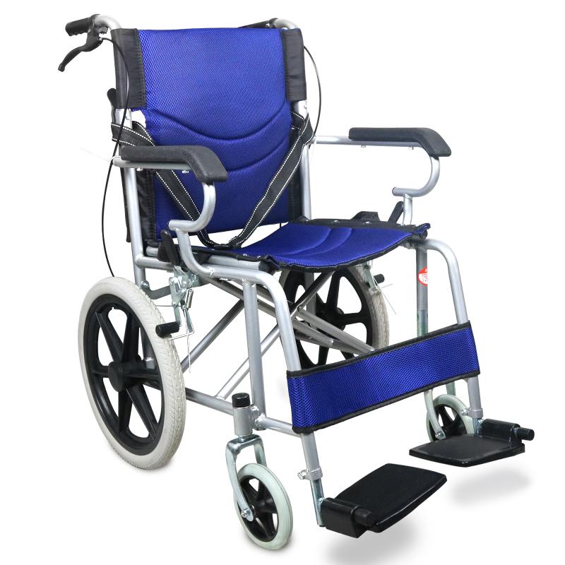助邦折叠小巧型手动轮椅SYIV100-ZB-17(全钢喷涂低靠背软座后轮16寸(蓝色))