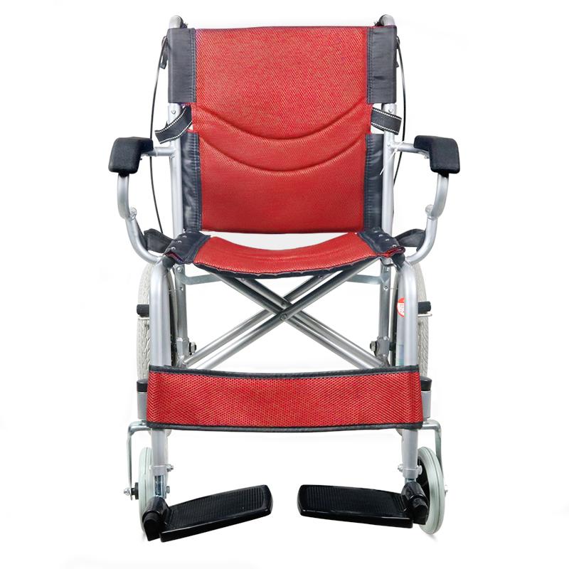 助邦折叠小巧型手动轮椅SYIV100-ZB-17(全钢喷涂低靠背软座后轮16寸(红色))